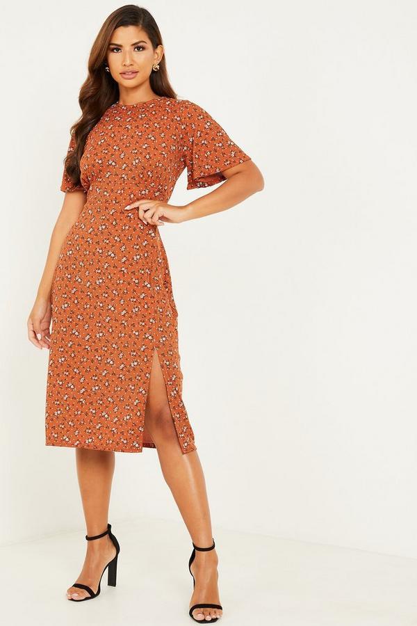 Rust Floral Ribbed Midi Dress