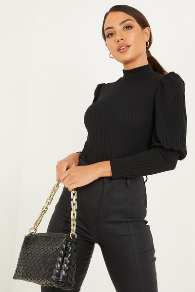 Black Ribbed Puff Sleeve Top