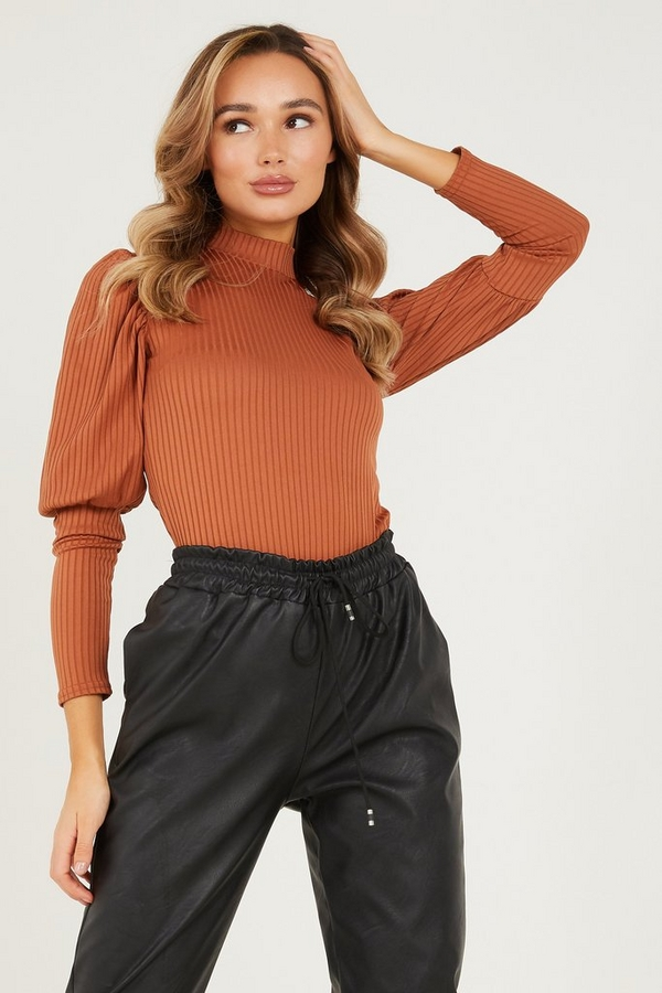 Rust Ribbed Puff Sleeve Top