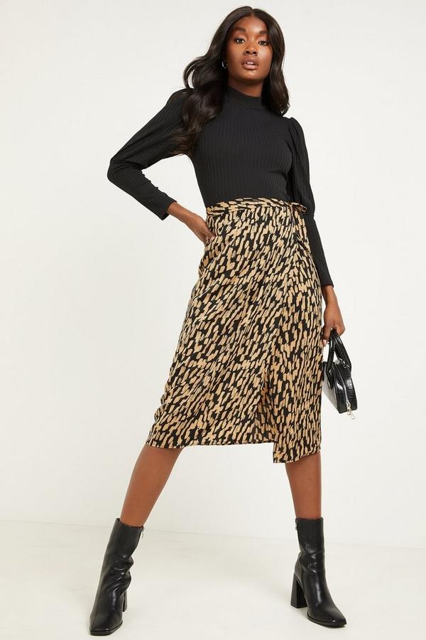 Black & Gold Satin Wrap Midi Skirt