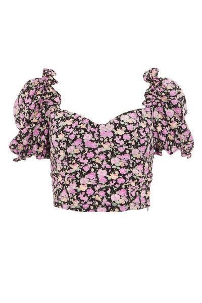 Black & Pink Floral Crop Top