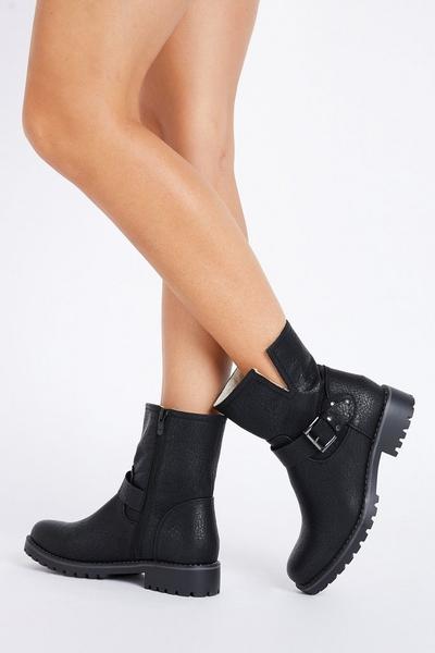 Black Faux Leather Biker Boots