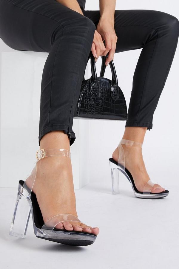 Black Clear Thin Heeled Sandal