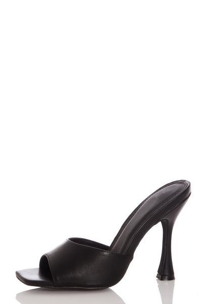 Black Faux Leather Heeled Mule Sandal