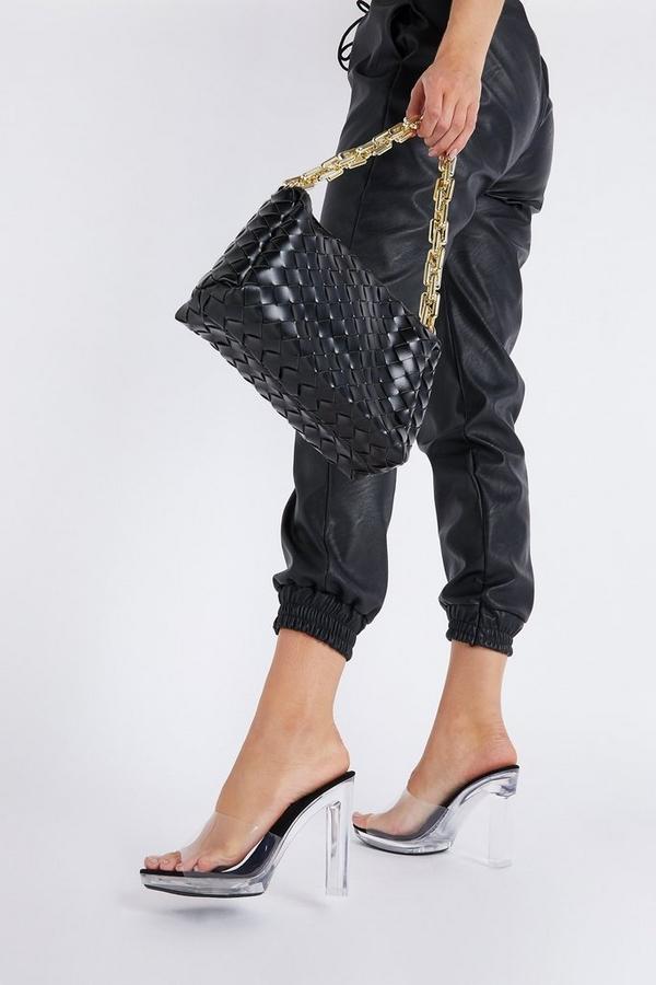 Black Clear Heeled Mule Sandal