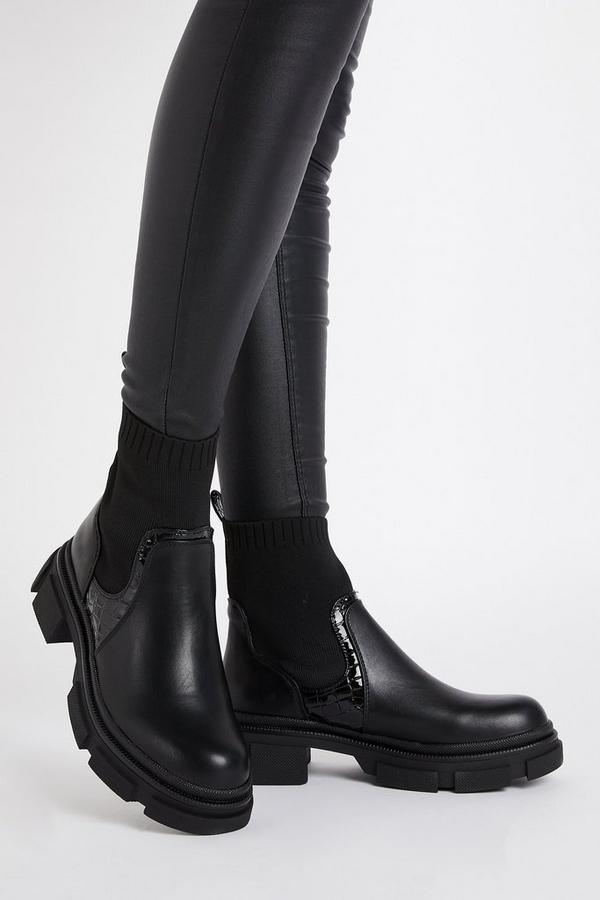 Black Sock Chelsea Boot
