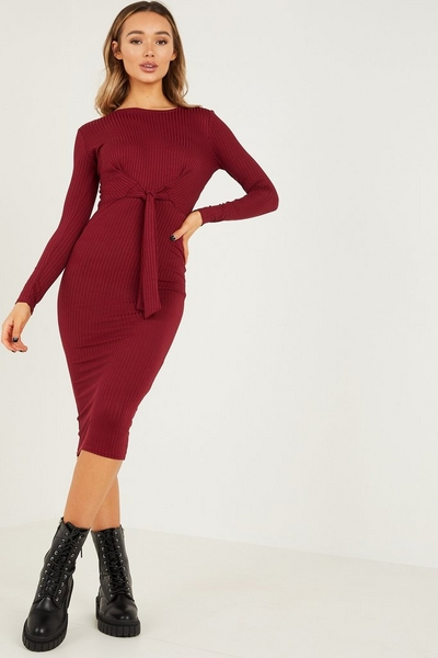 Berry Ribbed Tie Front Midi Dress