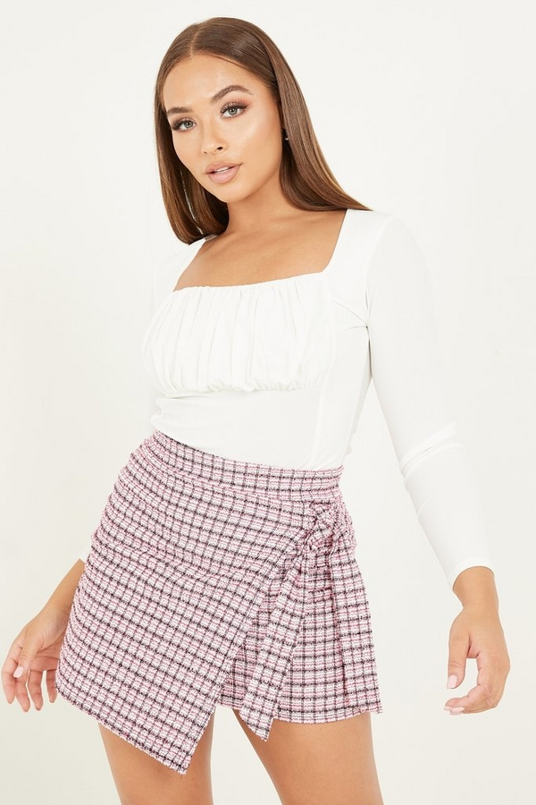 Petite Pink Check Wrap Mini Skirt