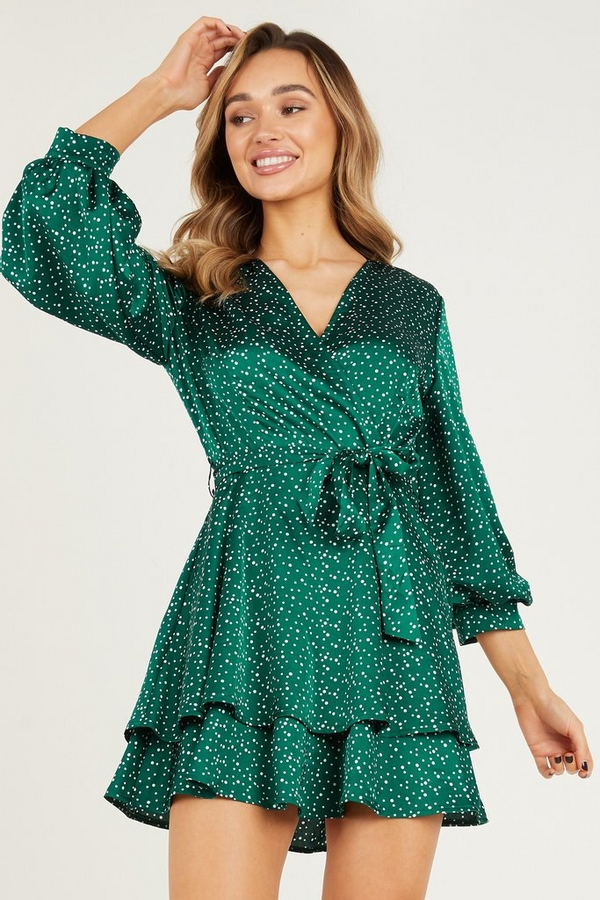 Green Spot Print Skater Dress