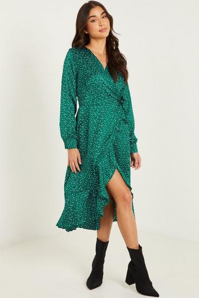 Green Spot Print Wrap Midi Dress