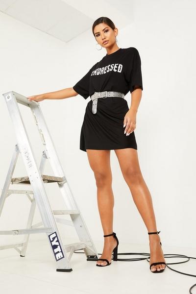 Black & White Slogan T shirt Dress