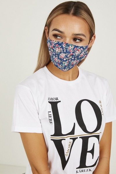 Navy Floral Fashion Face Mask