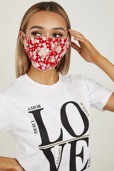 Red Floral Fashion Face Mask