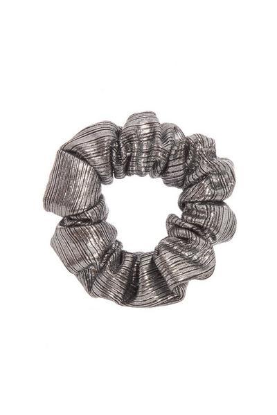 Silver Metallic Scrunchie