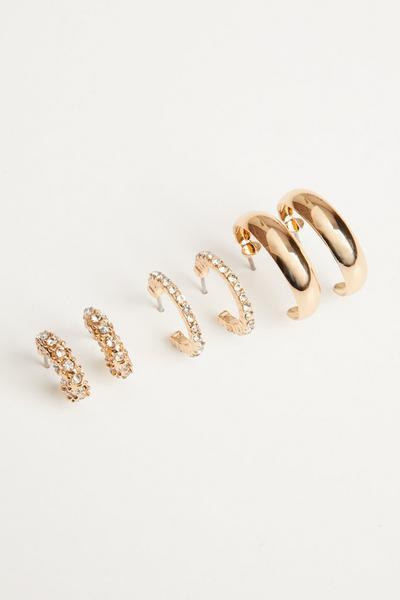 Gold Diamante Hoop Earring Set