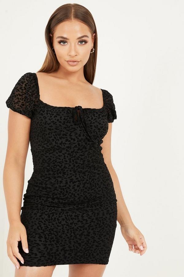 Petite Black Animal Puff Sleeve Dress