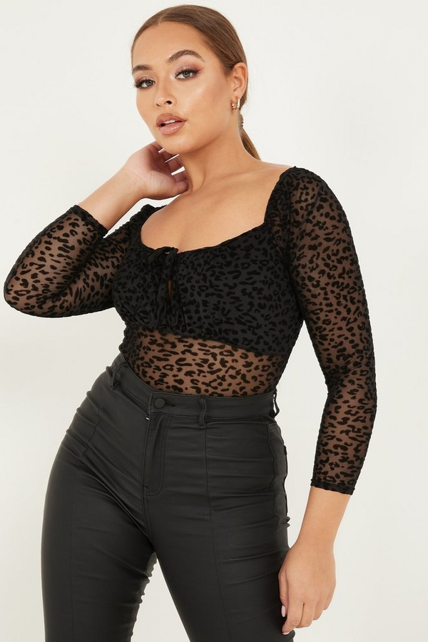Petite Black Animal Print Bodysuit
