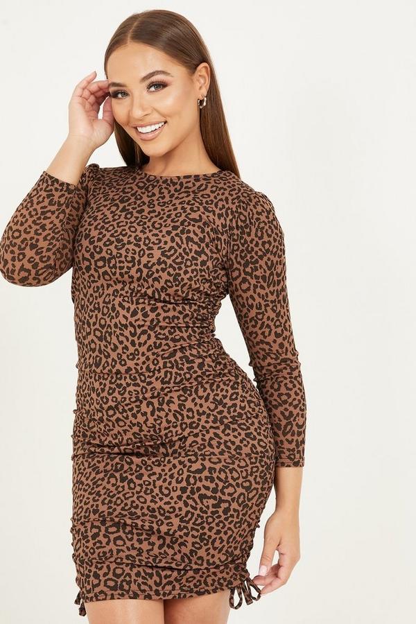 Petite Brown Leopard Ruched Midi Dress