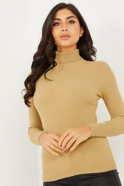 Camel Knitted Roll Neck Top