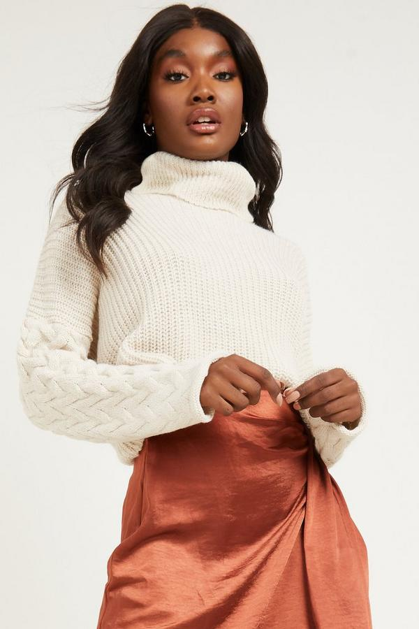 Stone Knitted Roll Neck Crop Jumper