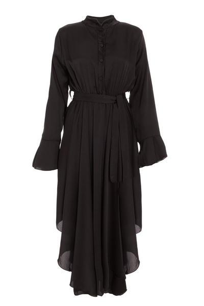 Black Satin Hanky Hem Dress