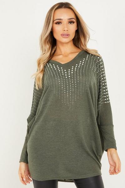 Khaki Light Knit Diamante Tunic Top