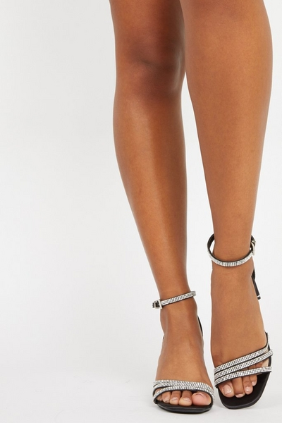 Black Diamante Heeled Sandals