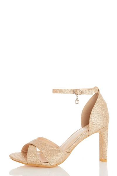Bridal Gold Jewel Heeled Sandal