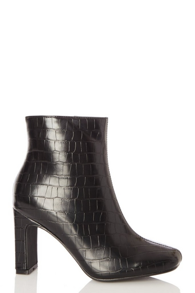 Black Crocodile Heeled Ankle Boot