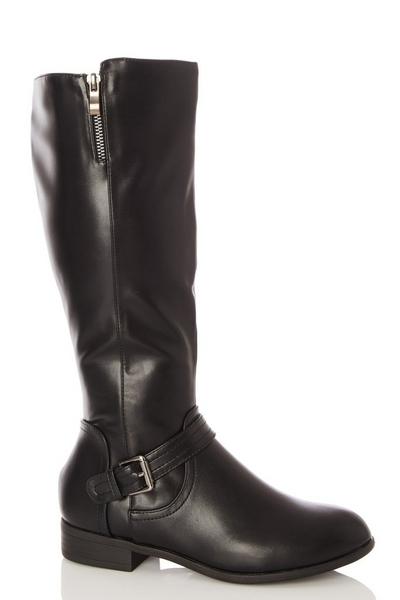 Black Buckle Detail Knee High Boot