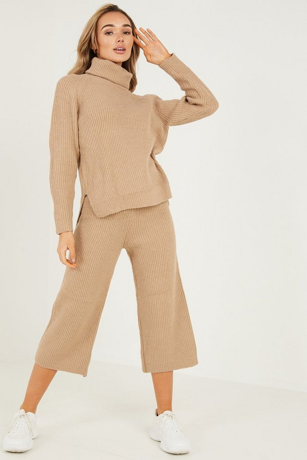 Stone Knitted Palazzo Trousers