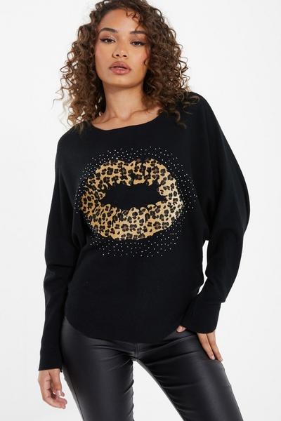 Black Leopard Print Embellished Jumper