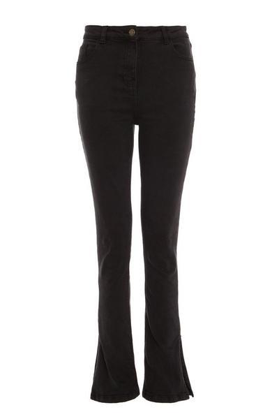 Black Split Hem Jeans