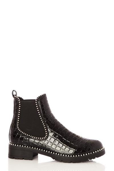 Black Crocodile Patent Stud Boot
