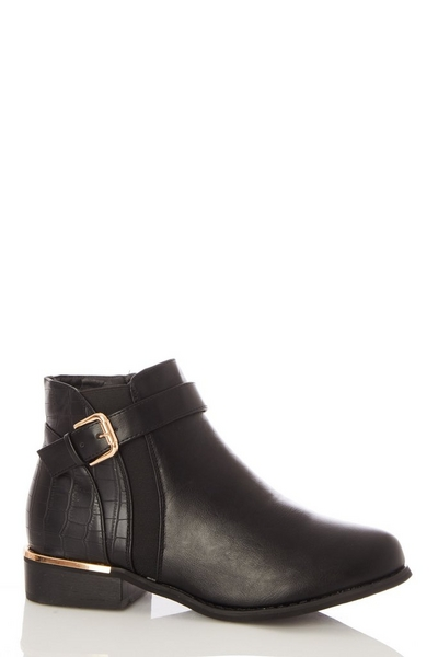Black Faux Leather Flat Ankle Boot