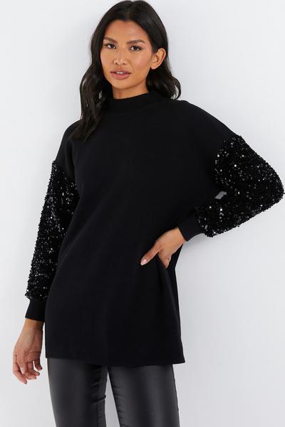 Black Knitted Sequin Sleeve Jumper