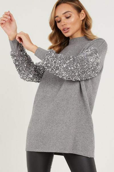Grey Knitted Sequin Sleeve Jumper