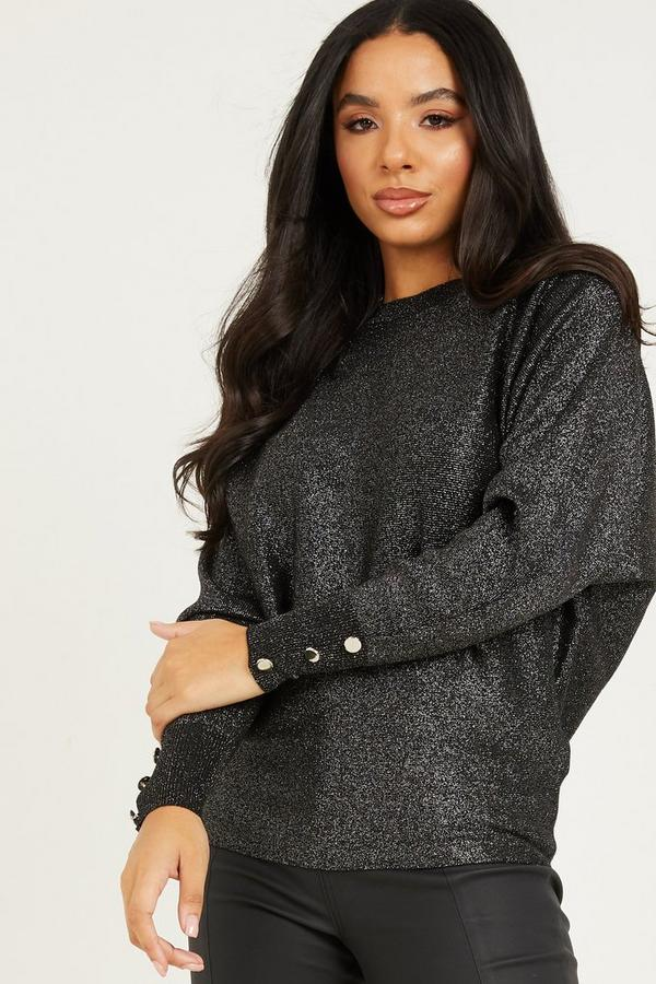 Black Glitter Knitted Jumper