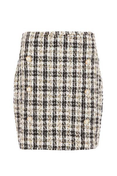 Black & Mustard Check Skirt