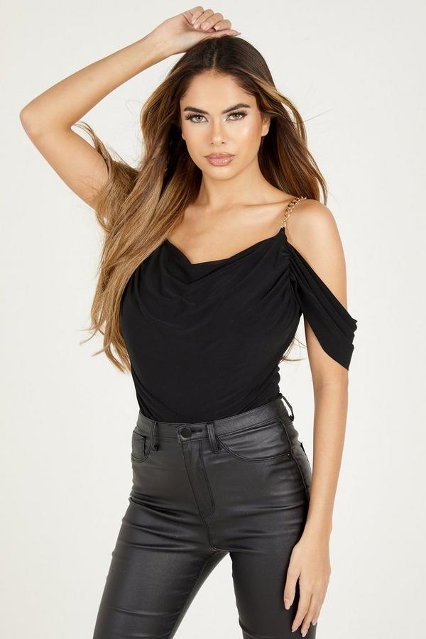 Black Cold Shoulder Chain Bodysuit