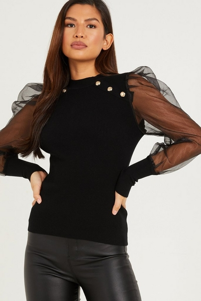Black Knitted Organza Sleeve Top