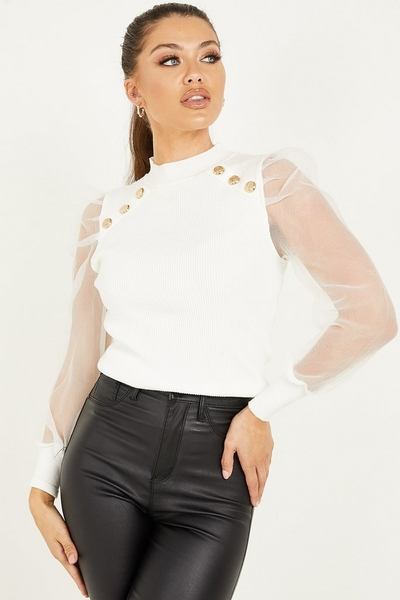 Cream Knitted Organza Sleeve Top