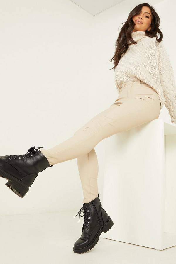 Stone Faux Leather Skinny Trousers