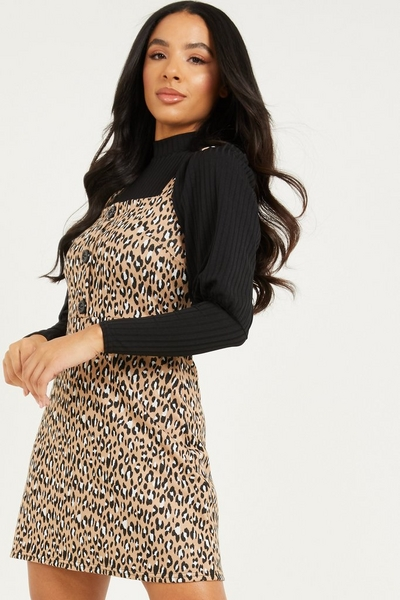 Stone Leopard Print Pinafore Dress