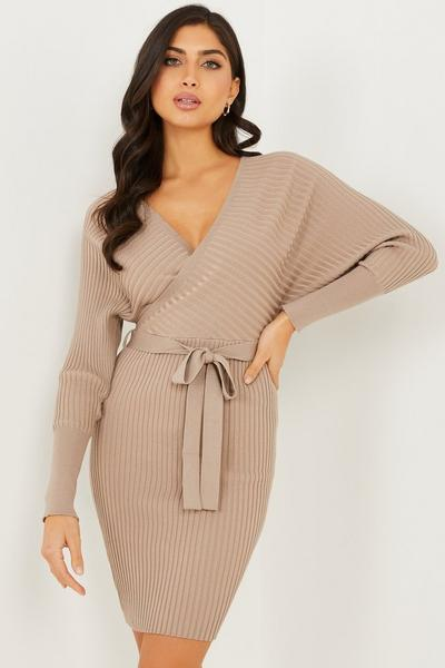 Stone Batwing Knitted Jumper Dress