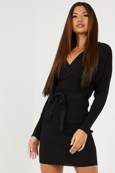 Black Batwing Knitted Jumper Dress