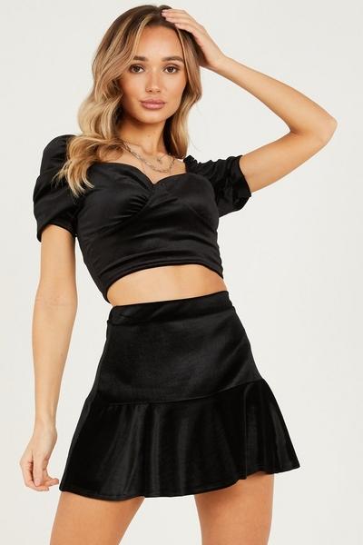 Black Velvet Frill Mini Skirt