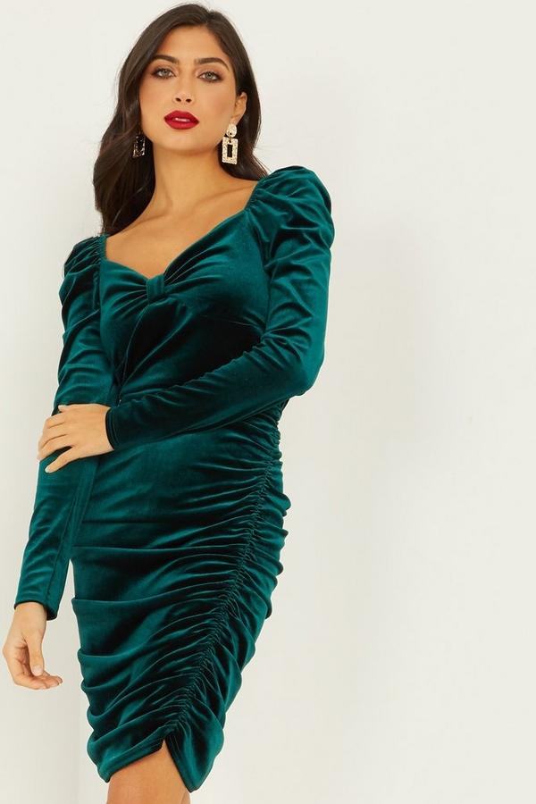 Green Ruched Velvet Dress