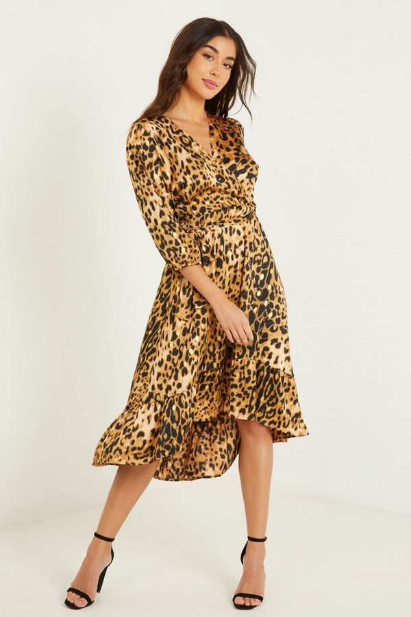 Brown Leopard Print Wrap Midi Dress