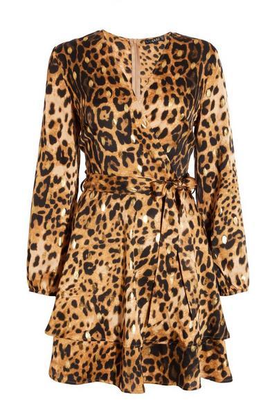 Brown Leopard Print Wrap Skater Dress